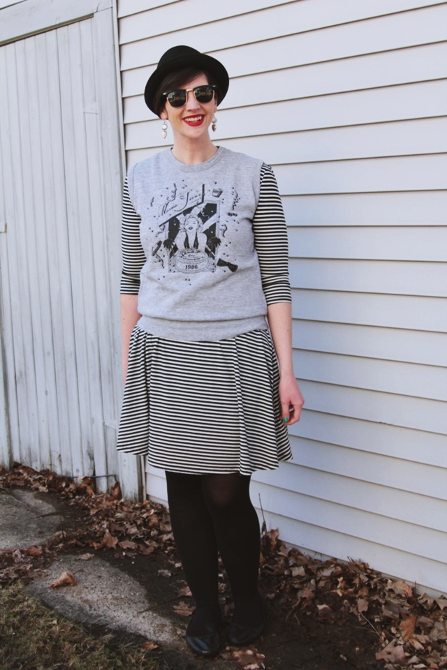 Outfit: Striped dress, gray Marilyn Monroe sweater vest, red lipstick. 14 Best Outfits of 2014 hannah rupp the outfit repeater thrifted fashion clothes