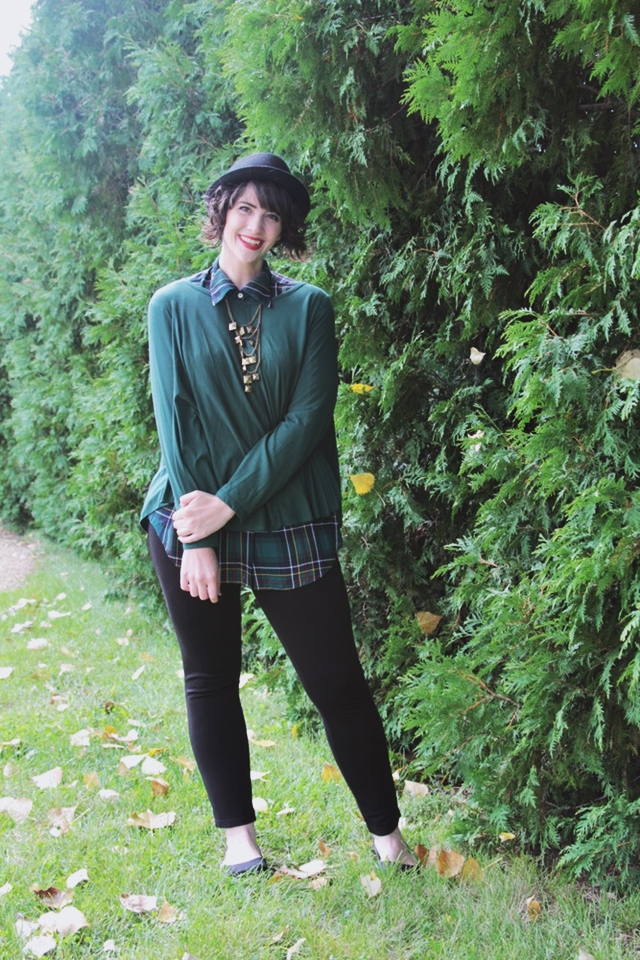 Outfit: Green plaid top, black jeans, pork pie hat. 14 Best Outfits of 2014 hannah rupp the outfit repeater thrifted fashion clothes