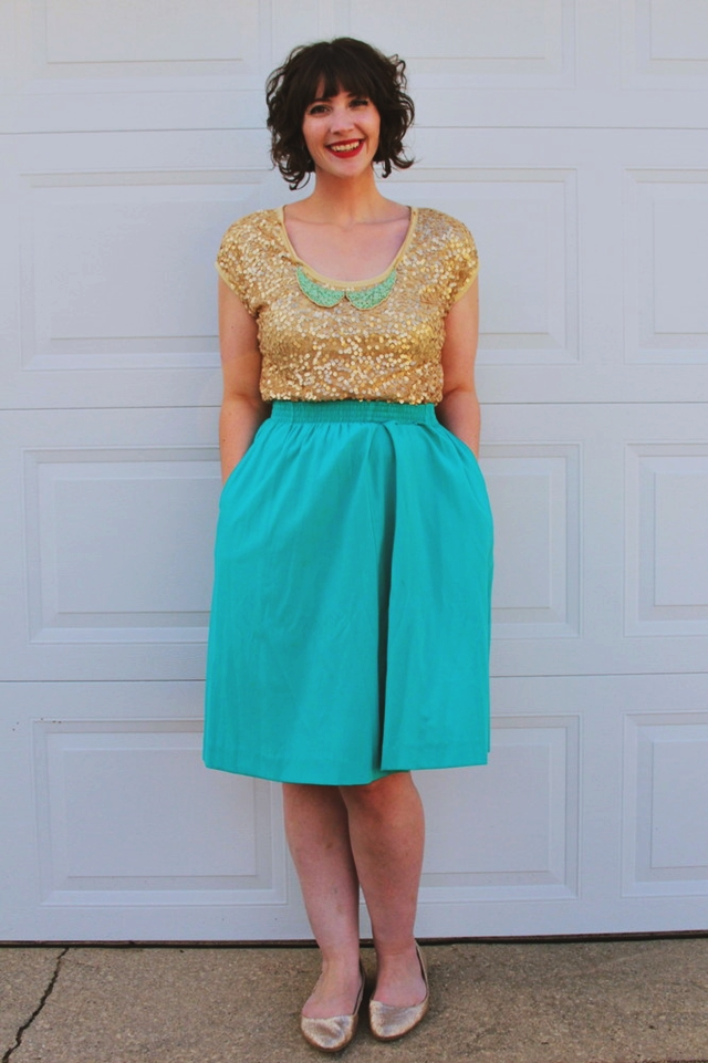 Outfit: Gold sequin tee, teal skirt, looks like a mermaid. 14 Best Outfits of 2014 hannah rupp the outfit repeater thrifted fashion clothes