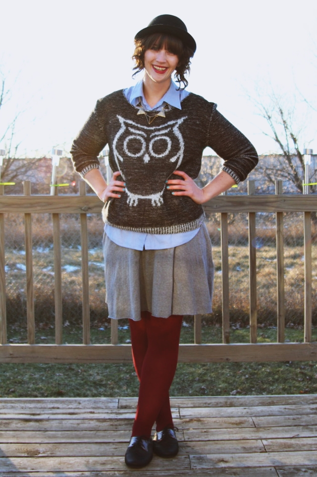 the outfit repeater hannah rupp preppy owl sweater winter