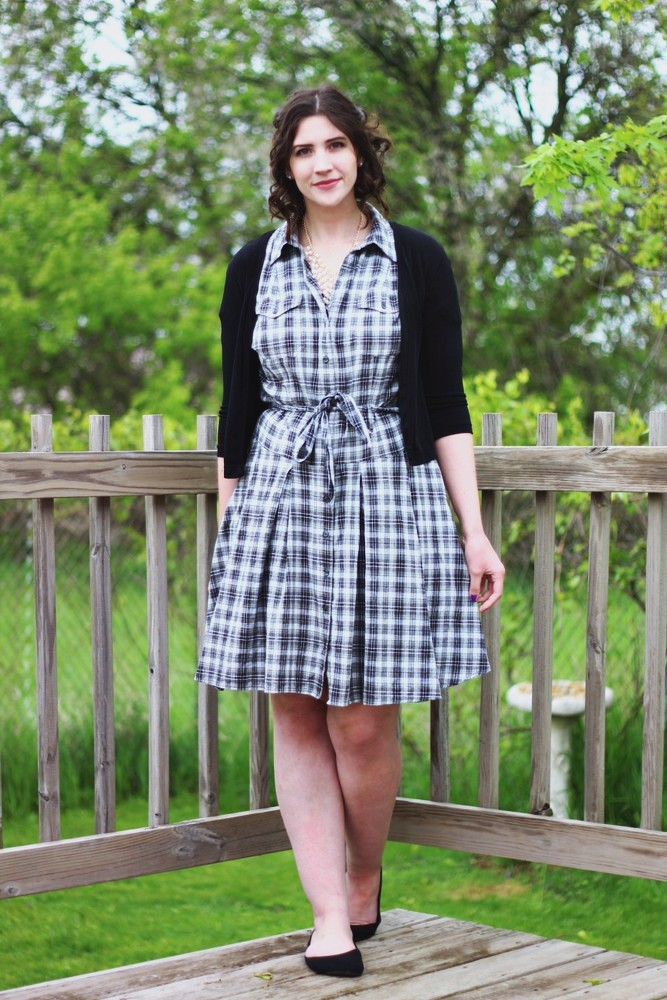Thrifted plaid dress and pearls for Mother's Day