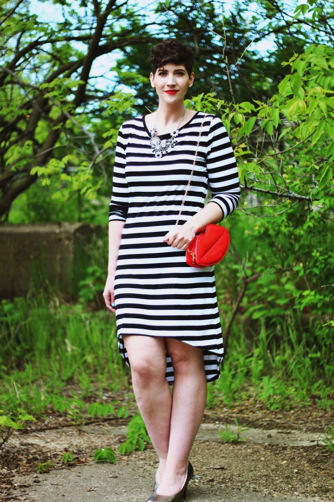 hannah rupp the outfit repeater striped dress red lipstick power women feminist pixie haircut