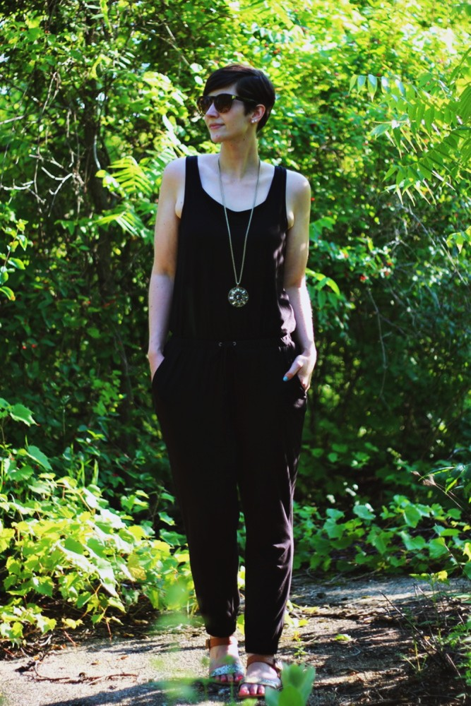 OOTD in a black BB Dakota jumpsuit via Gwynnie Bee, Target sandals, and a fresh face.