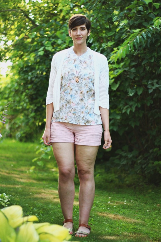 Outfit: Floral peter pan floral blouse, striped shorts, pattern mixing. | The Outfit Repeater