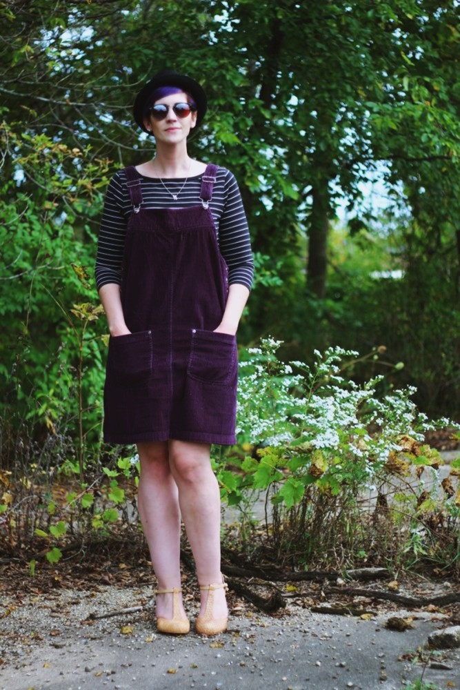 Outfit: Black & white breton striped top, purple corduroy dress, nude t-strap heels, black pork pie hat, reflective sunglasses