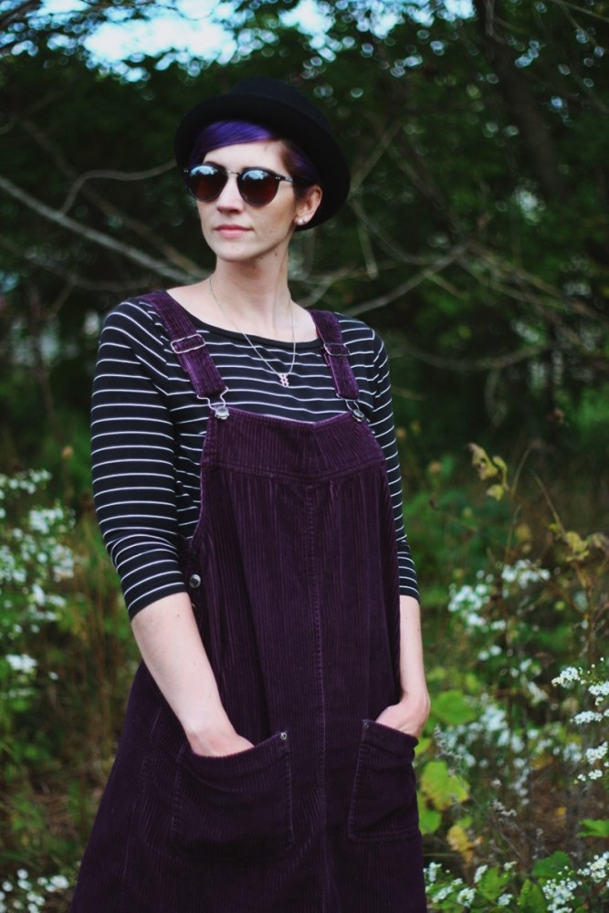 Outfit: Black & white breton striped top, purple corduroy dress, black pork pie hat, reflective sunglasses