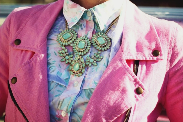 Outfit details: $1 Wal-Mart Statement necklace, pepto pink moto jacket, '80s floral button up