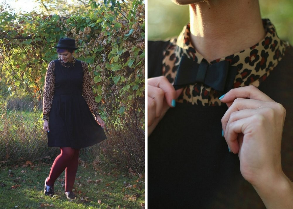 Outfit: leopard print blouse, black dress, burgundy tights, brogues, pork pie hat, DIY bow tie
