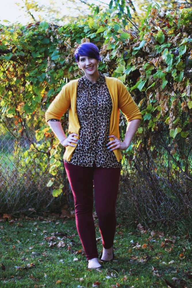 Outfit: leopard print blouse, burgundy pants, mustard cardigan, purple pixie hair cut