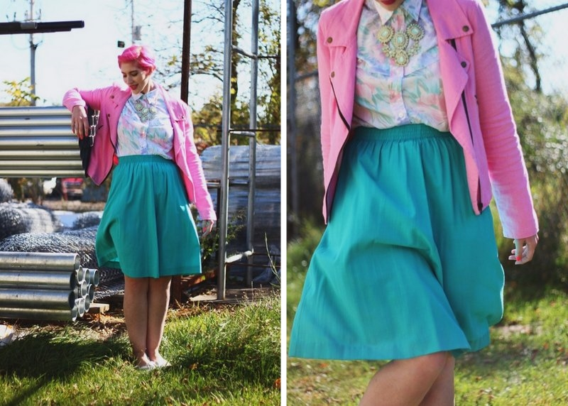 Outfit: Pink moto jacket, vintage floral button up, teal skirt, statement necklace, silver flats, pink pixie cut