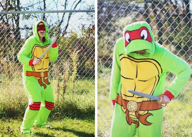 Halloween Costume: Teenage Mutant Ninja Turtle onesie from Wal-Mart