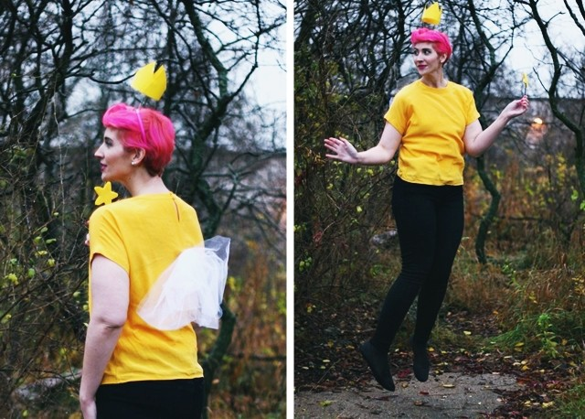 Fairly OddParents Wanda Halloween costume. Pink pixie cut, floaty crown, magic wand, homemade wings