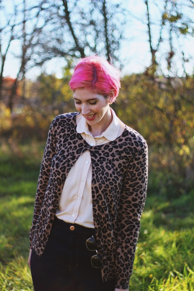 Matching in a Leopard Print Cardigan w/ My Best Friend