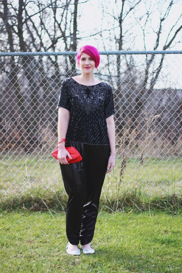 sequin holiday party look sequin sweatpants thrifted vintage sequined blouse red lips purse pink pixie cut hair winter