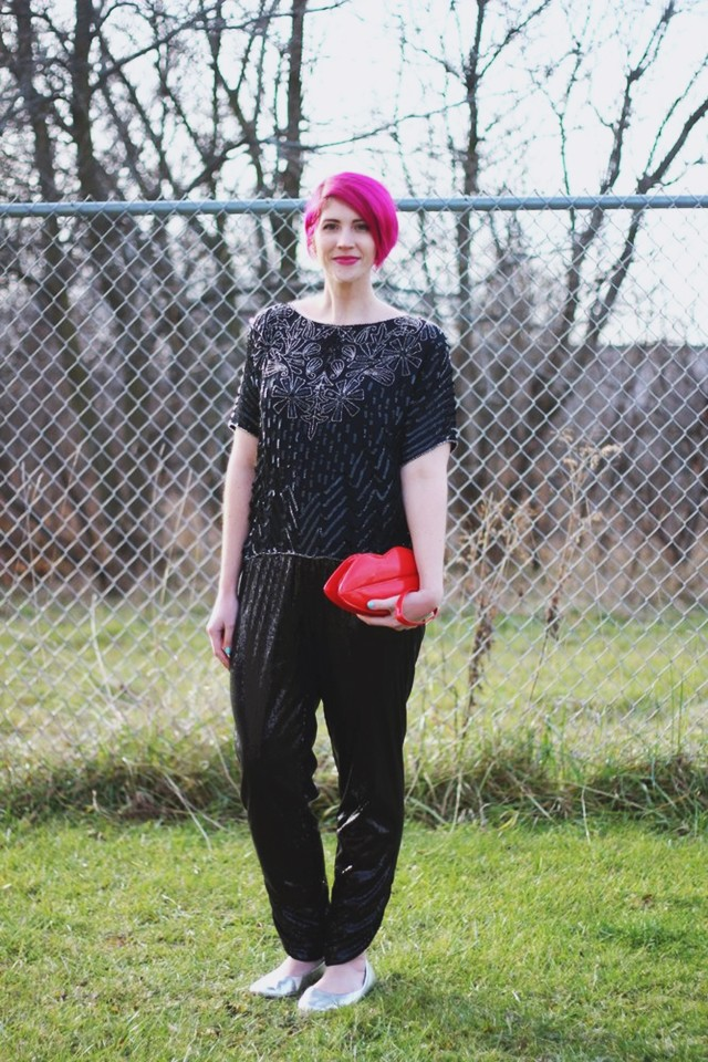 sequin holiday party look sequin sweatpants vintage sequined blouse red lips purse pink pixie cut hair winter