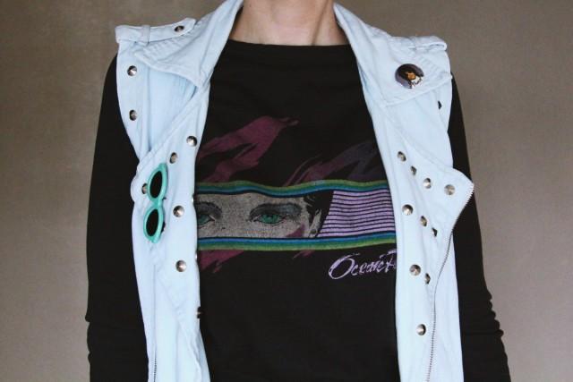 Outfit details: 1983 Ocean Pacific sweatshirt, studded denim vest, vintage pins