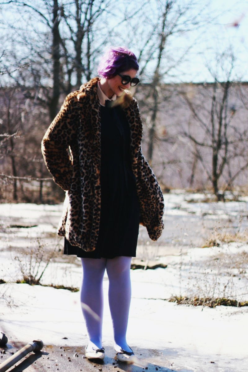 Purple Hair and a Leopard Print Coat