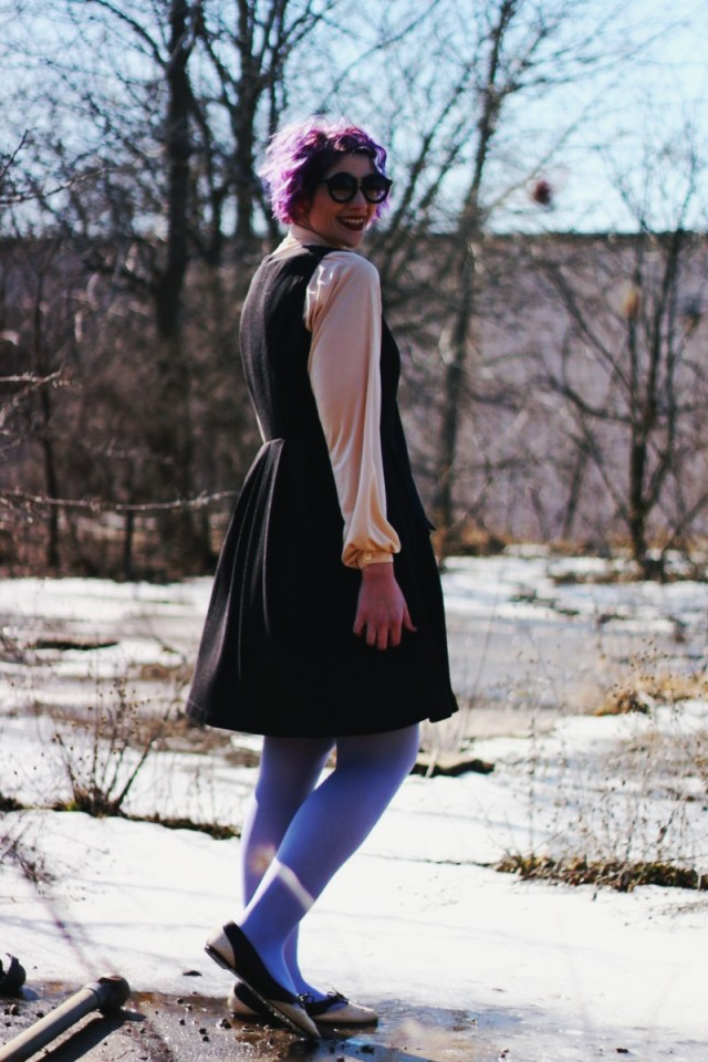 Outfit: leopard print coat, black dress, vintage blouse, lavender tights, round sunglasses, purple hair