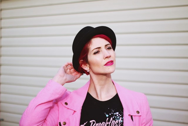 Black pork pie hat + magenta hair