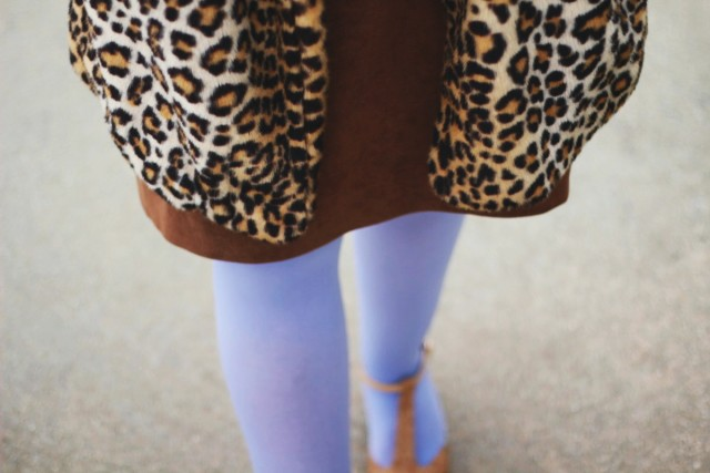 Outfit details: brown suede skirt, leopard print coat, lavender tights, beige t-strap high heels