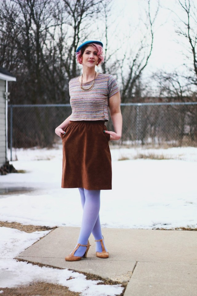 Outfit: Blue striped crop top, light brown suede skirt, Forever 21 leopard print jacket, teal beret, gold necklace, lavender tights, beige t-strap heels