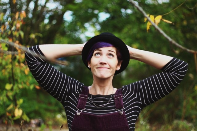 Black breton striped top, purple hair + black pork pie hat