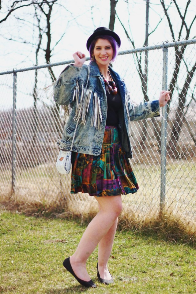 the outfit repeater hannah rupp vintage thrifted 1980s halloween costume ideas inspiration mall shopping material girl tassel acid wash denim jean jacket pork pie hat debbie gibson tiffany