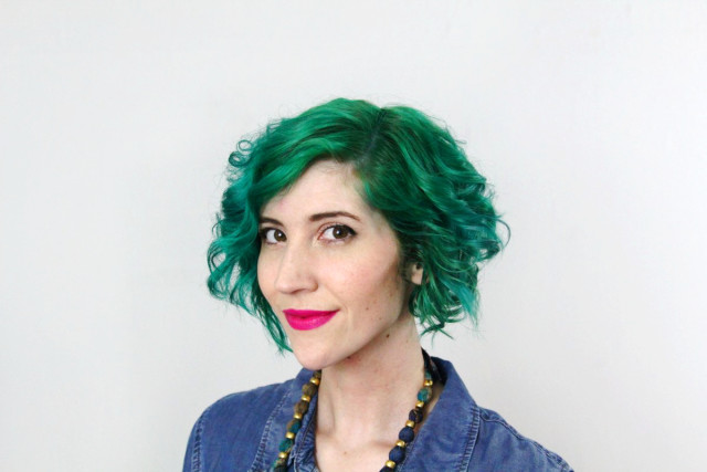 Green hair by Pravana Vivids and fuschia lipstick by YSL
