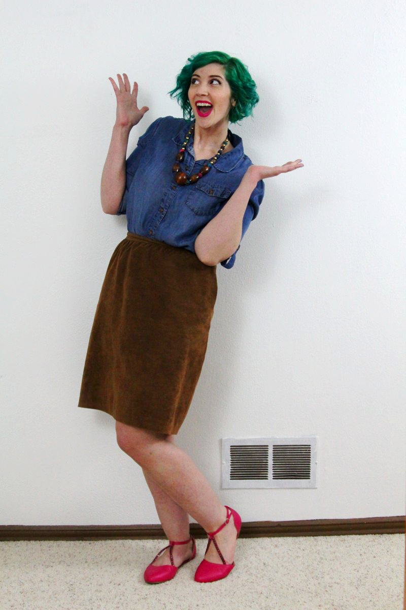 Outfit: green hair by Pravana, chambray button up, suede cognac skirt, pink flats, fuschia lipstick by YSL