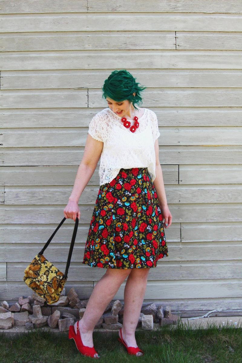 Spring style outfit inspiration red, floral, and lace