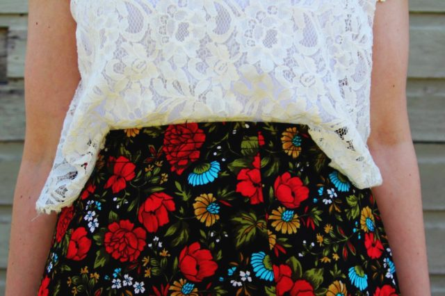 Spring style outfit: Target white lace crop top, vintage thrifted red floral skirt