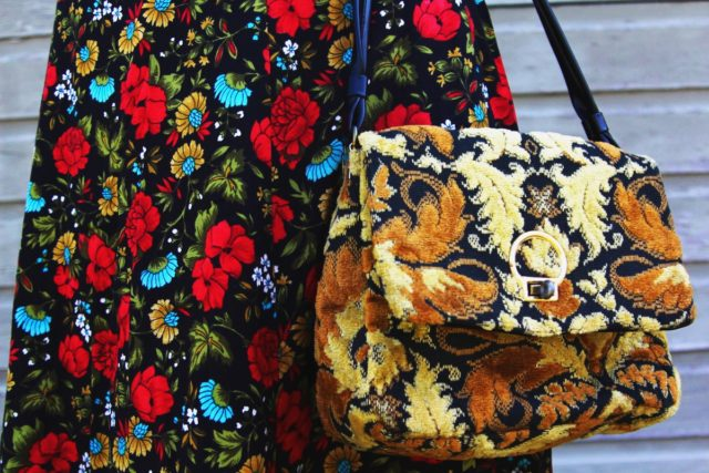 Spring style outfit: vintage thrifted red floral skirt, thrift yellow carpet bag
