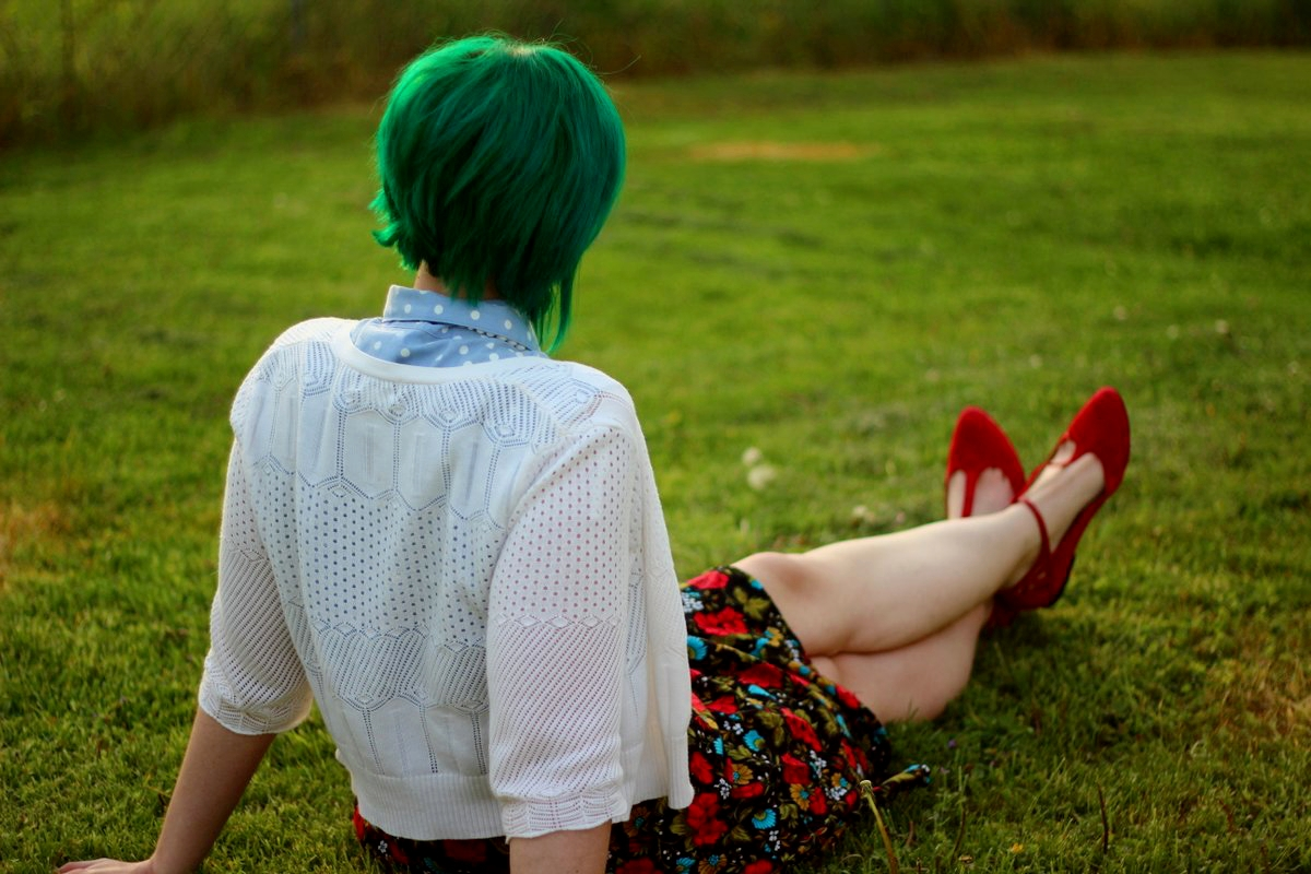Outfit: polka dot chambray top, black floral skirt, green hair, white cardigan, vintage beaded necklace, red t-strap flat shoes