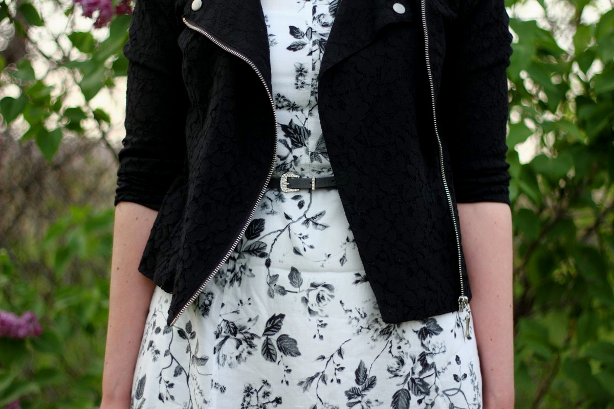 Outfit details: black and white floral dress, lace moto jacket, gray belt