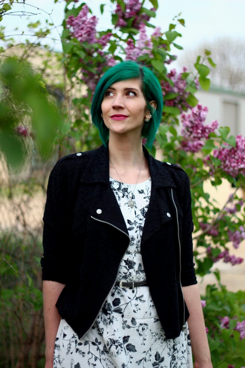 Outfit: black and white floral dress, lace moto jacket, gray belt, vintage necklace, green hair