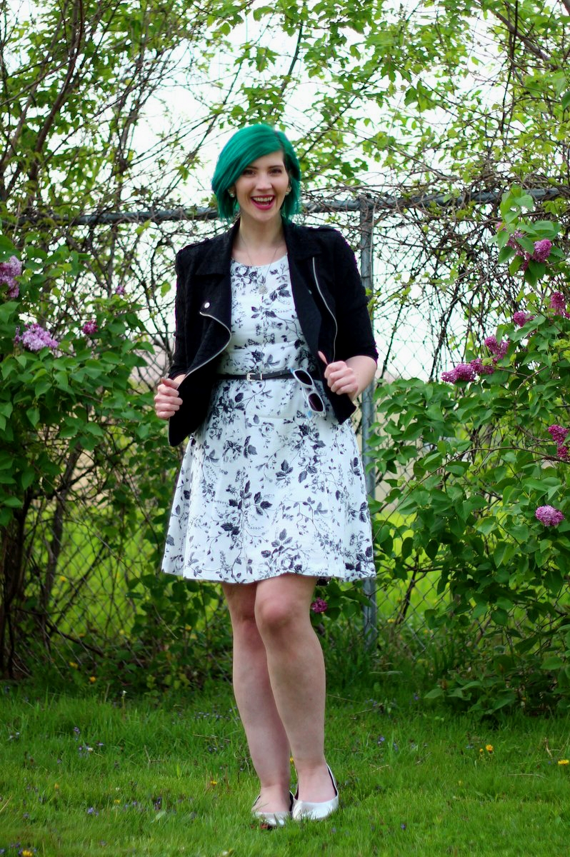 Outfit: black and white floral dress, lace moto jacket, gray belt, vintage necklace, green hair, silver thrifted flats