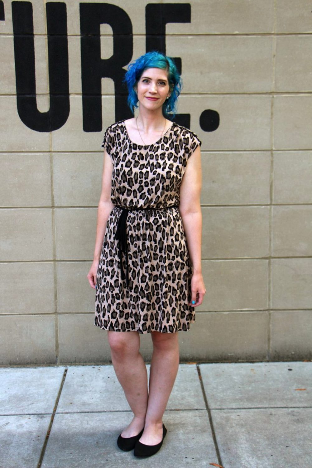 Outfit: leopard print dress, sky blue curly hair, black flats