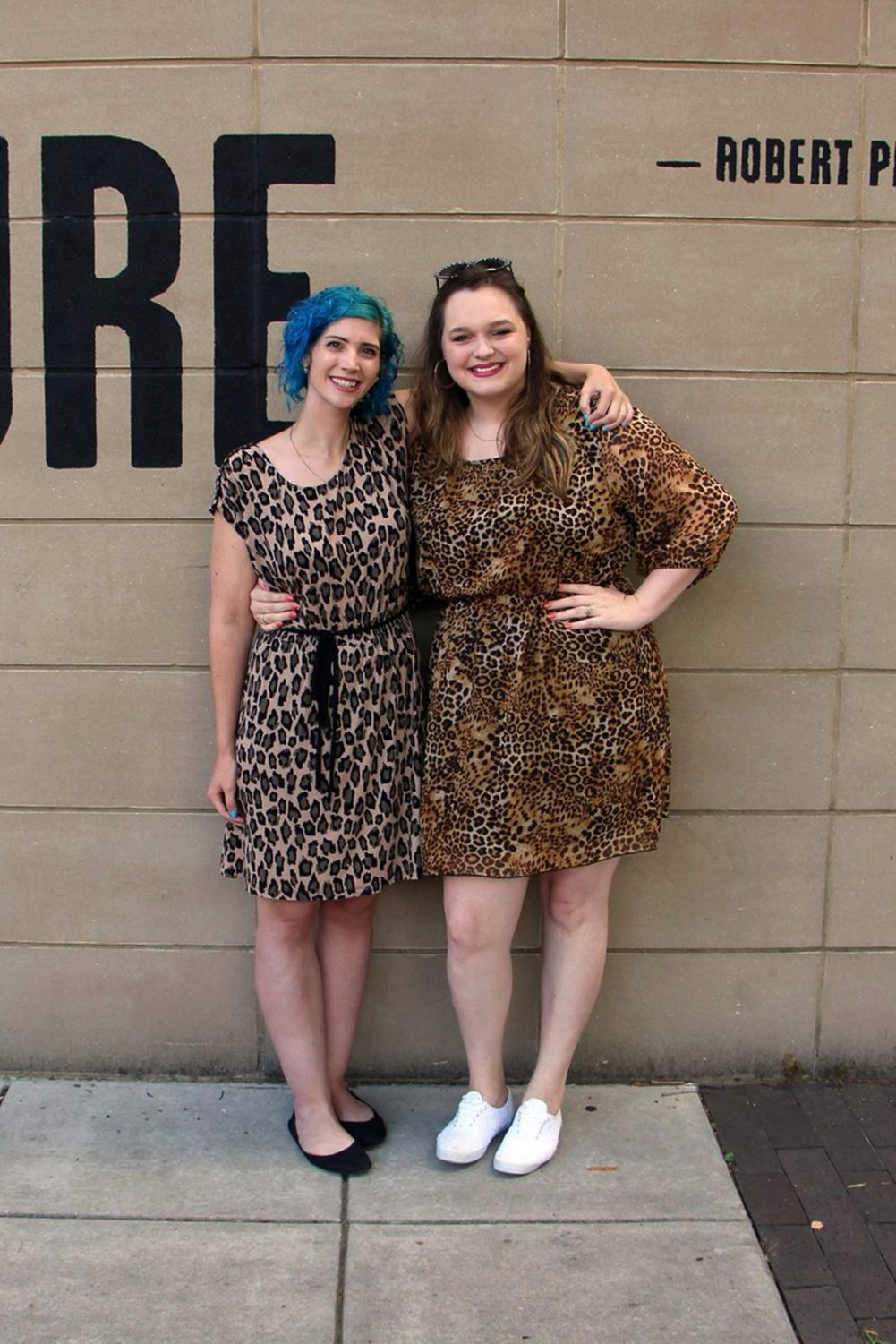 Outfits: leopard print dress, sky blue curly hair, black flats, white sneakers