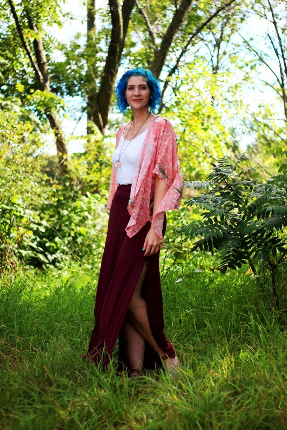 Saying Goodbye to Summer in a Pink Kimono