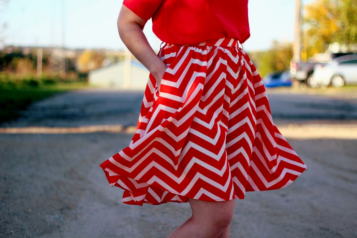 thrifted orange chevron skirt