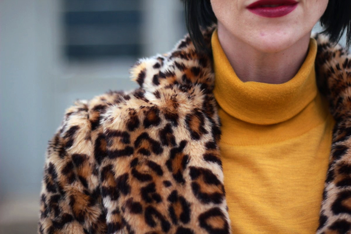Outfit details: mustard yellow turtleneck leopard print coat