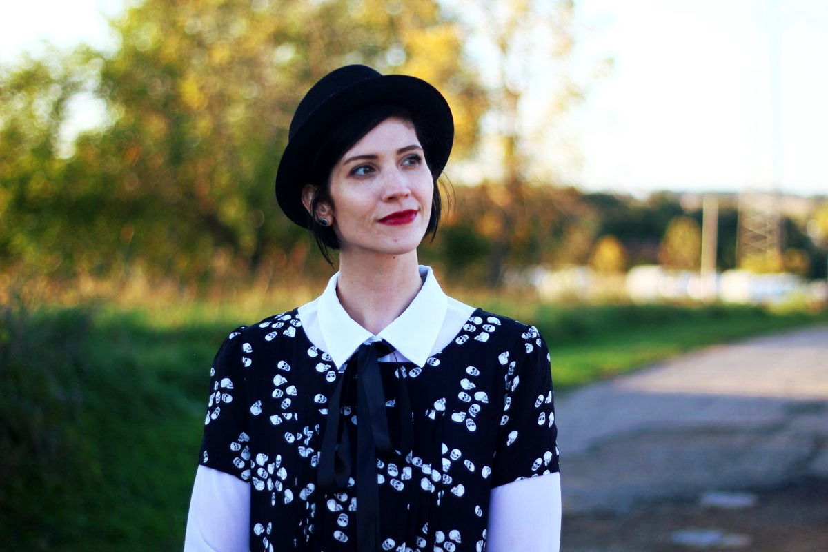 Outfit: Skull and crossbone dress, white button down, DIY ribbon, pork pie hat, dark lipstick