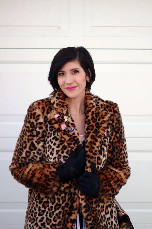 Outfit: leopard print coat, cool enamel pins