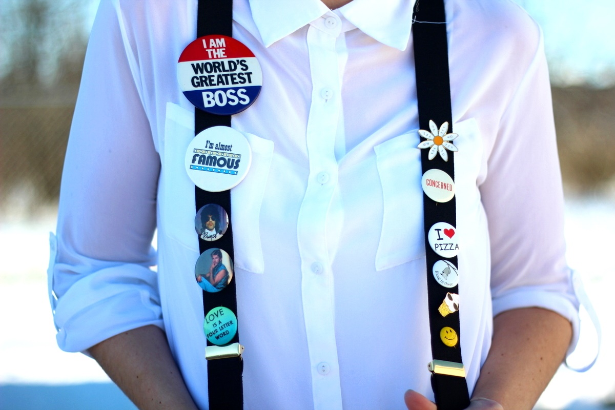 white button up black suspenders vintage thrifted flair buttons enamel pins outfit