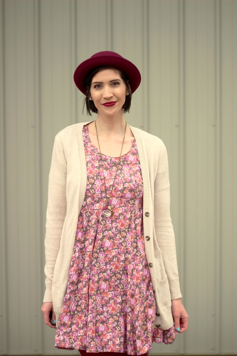 Valentine's Day outfit Thrifted floral dress, beige cardigan, bowler hat, dark lipstick, maroon tights, beige t-strap style high heels