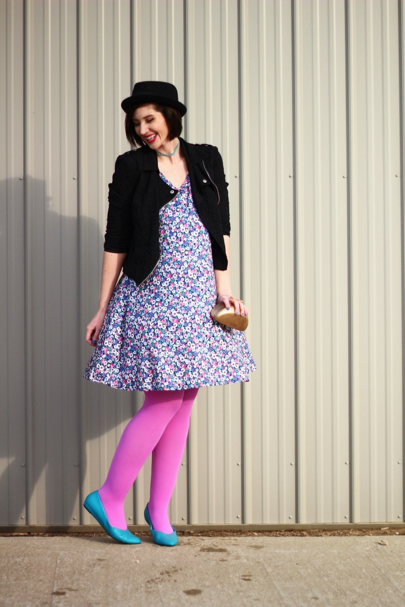 Thrifted ASOS floral dress, black moto jacket, fushia lipstick, ASOS pork pie hat, DIY choker, DIY clutch, orchid pink We Love Colors tights, vintage teal flats