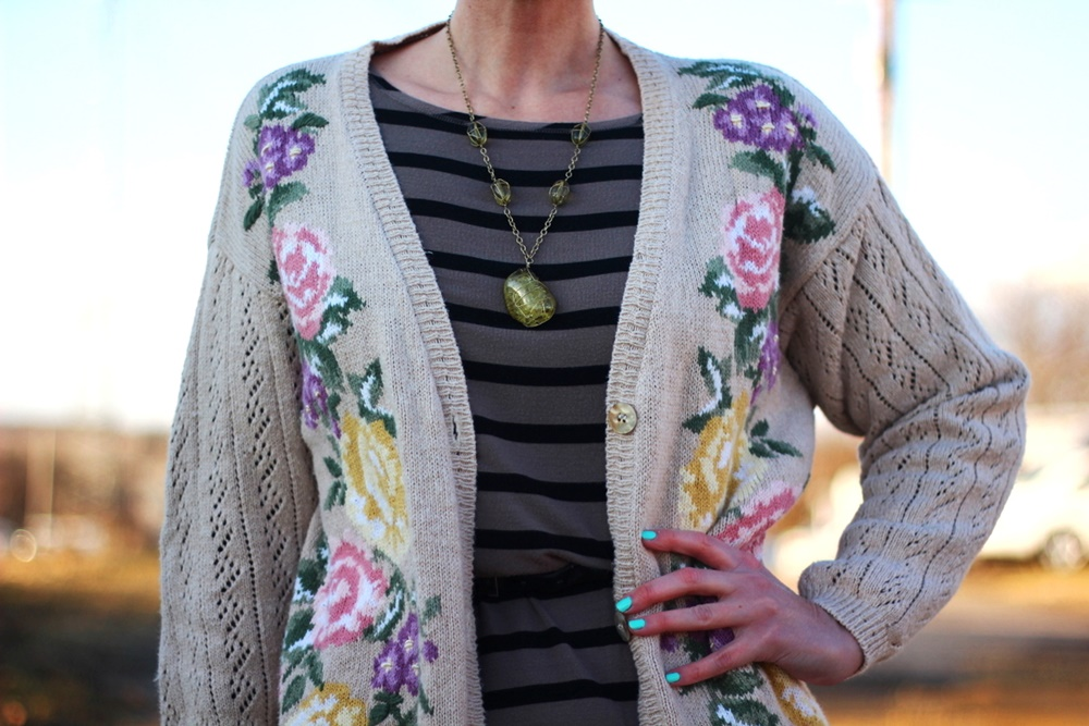 Embroidered grandma cardigan, striped dress, purple lipstick, We Love Colors Mocha tights, brown cream ballet flats