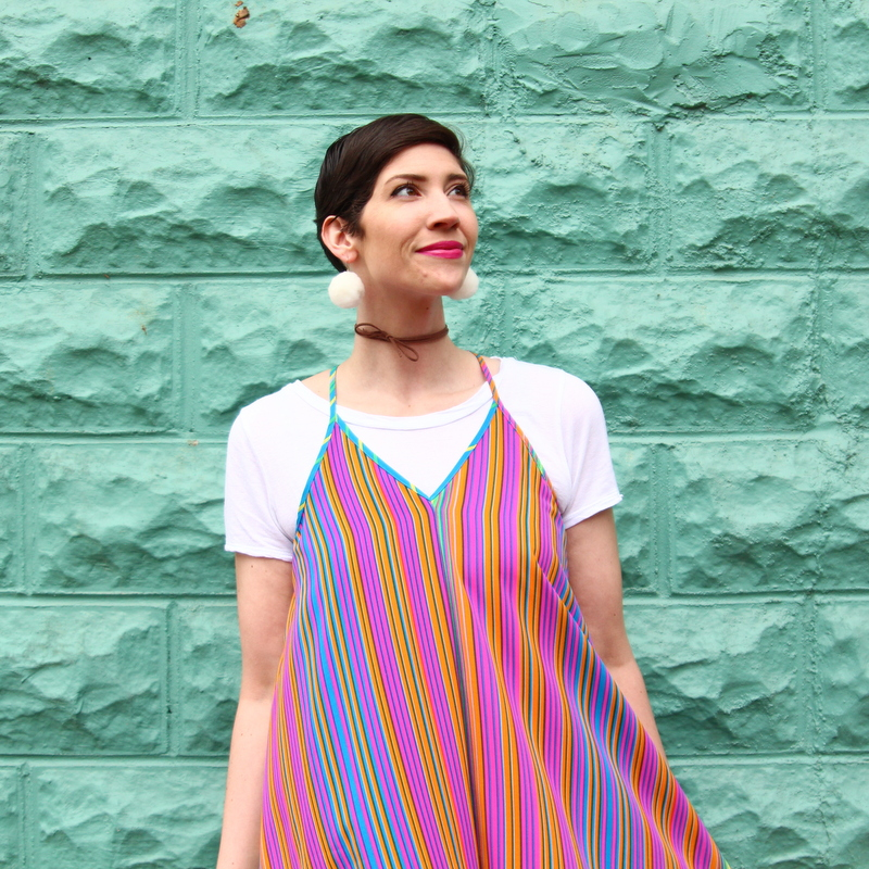 outfit rainbow dress cardigan boyfriend jeans lace up flats diy pom pom earrings leatherette choker mint green brick wall