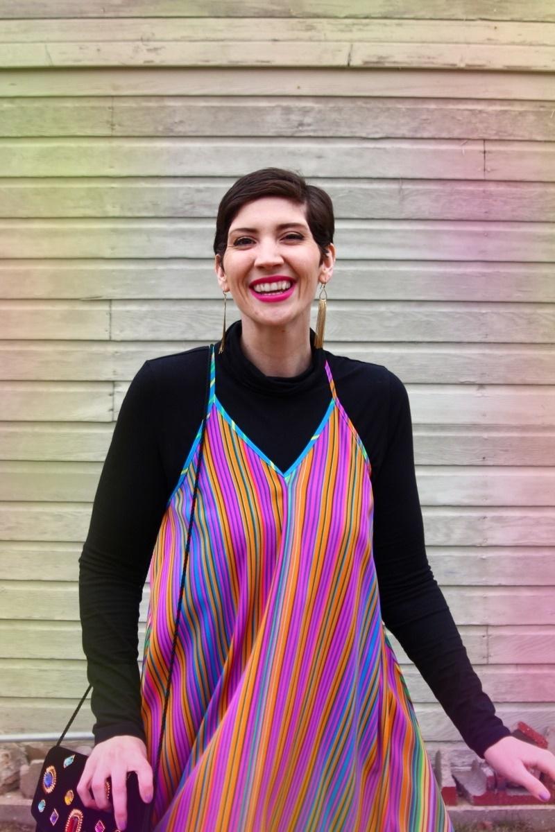 outfit rainbow dress black turtleneck teal kitten heels vintage black jewel clutch fold earrings colorful evening wear