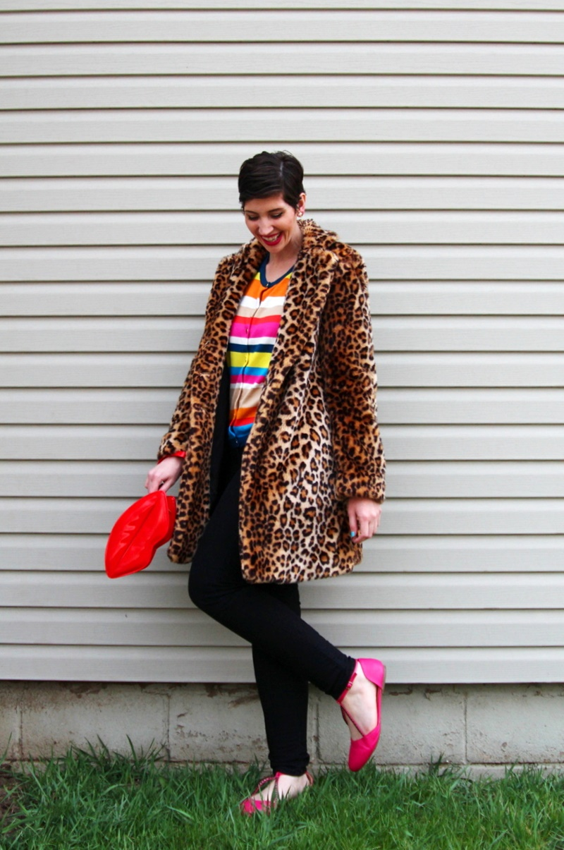 Striped rainbow sweater, leopard print coat, black jeggings, pink flats, Colourpop Heart On lipstick, red lip clutch purse, icecream cone earrings